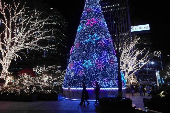 Новогодняя ёлка в Сеуле