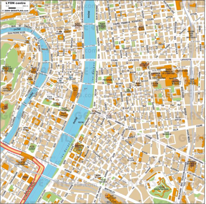 Туристическая карта Лиона